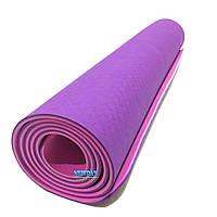 Коврик для йоги и фитнеса,  1830х800х6мм, TPE+TC, двухслойный