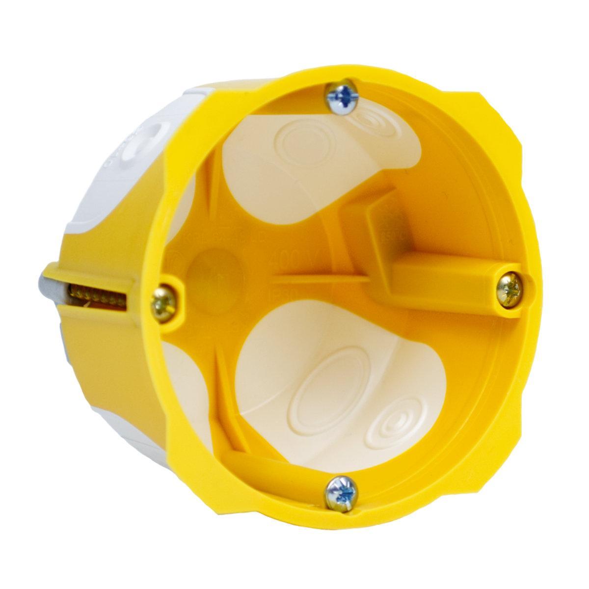 Коробка приладова з еластичними вводами ПВХ; Жовта; Ø68х45мм
