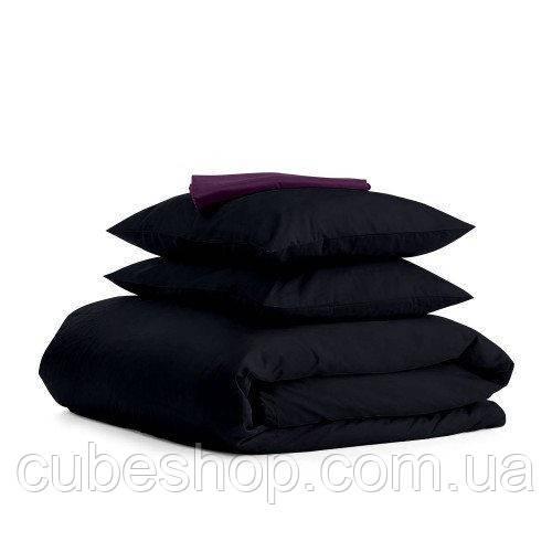 Комплект полуторного постельного белья BLACK VIOLET-S (хлопок, сатин)