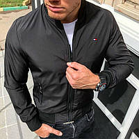 Бомбер курточка мужская весенняя/осенняя Tommy Hilfinger, цвет черный