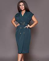 Стильное платье в деловом стиле, морская волна 48-50,52-54,56-58, фото 1