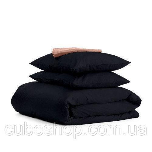 Комплект полуторного постельного белья BLACK BEIGE-S (хлопок, сатин)