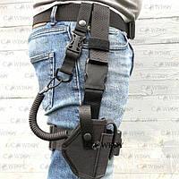 Кобура набедренная со шнуром для пистолета ПМ, черная, фото 1
