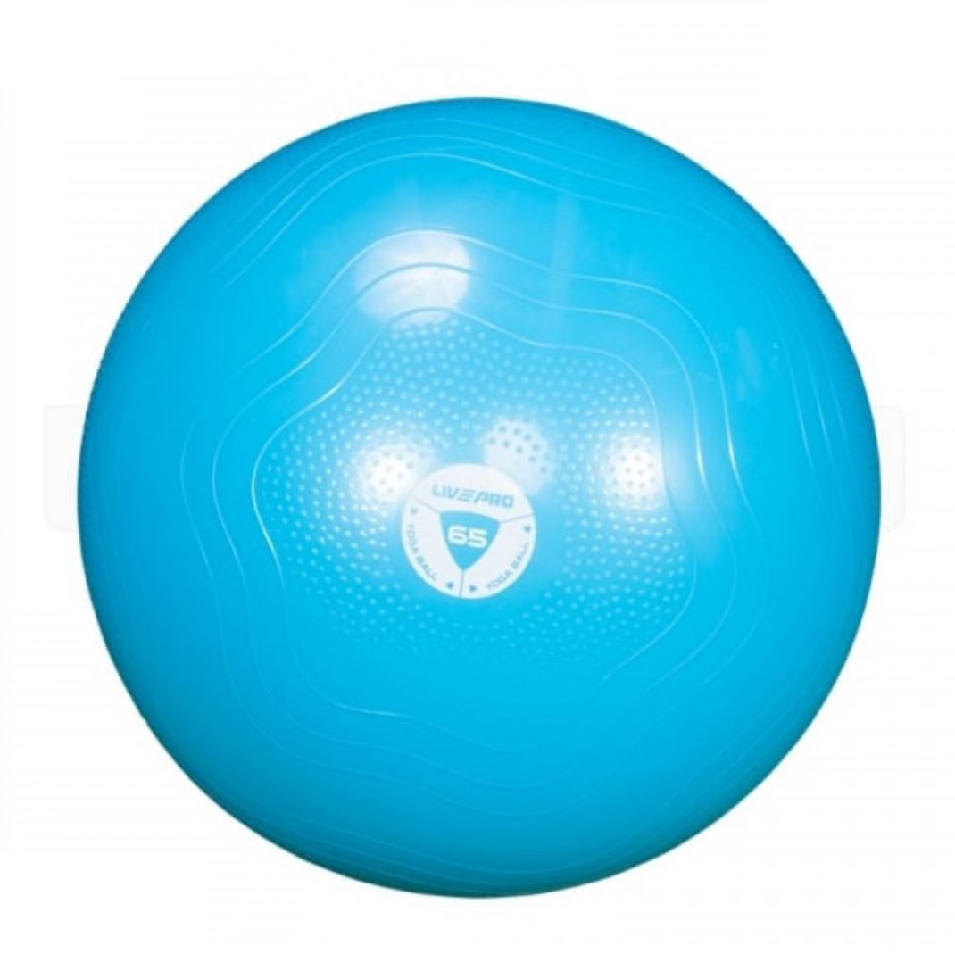 Фитбол усиленный LivePro ANTI-BURST Core-Fit 65 см синий для фитнеса и тренеровок (LP8201-65)