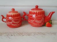 Керамический заварник 600 мл и сахарница 350 мл красный декор