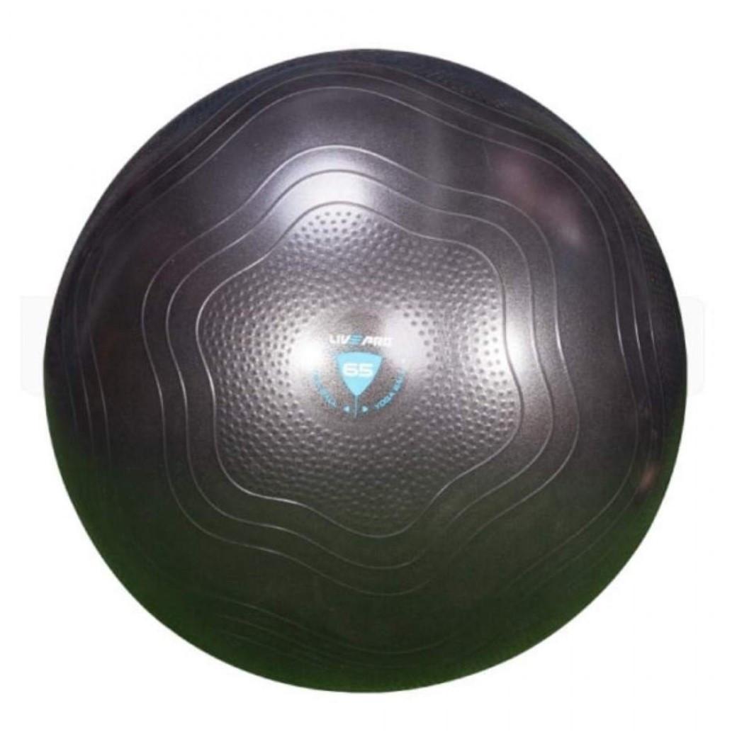 Фитбол усиленный LivePro ANTI-BURST CORE-FIT EXE, мяч для фитнеса упрочненный, диаметр - 75 см, цвет - черный