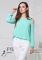 Стильная шифоновая блузка с открытыми плечами 003В/02, фото 1