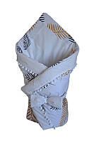 Конверт - одеяло на выписку DavLu Листья пальмы 90х90 см белый (K-005)