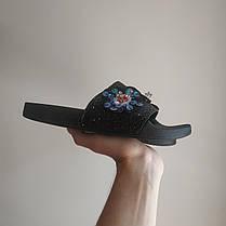Черные Тапки стразы шлепки бисер блестящие шлепанцы со стразами с камнями с цветами размеры 37, 38, фото 3