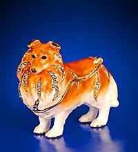 """Шкатулка """"Собака колли"""" со стразами и цветной эмалью 6х5см"""