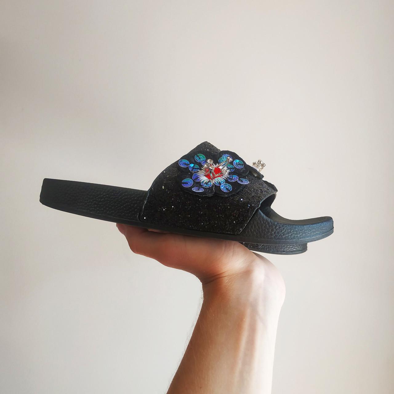 Черные Тапки стразы шлепки бисер блестящие шлепанцы со стразами с камнями с цветами размеры 37, 38