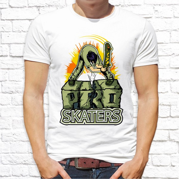 "Мужская футболка с принтом Скейтбордист ""Pro skaters"" Push IT"