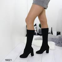 Демисезонные женские сапоги чулки черные замшевые на каблуке устойчивом