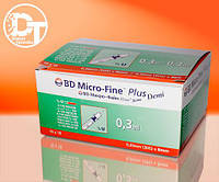 Шприцы инсулиновые BD Микро Файн Плюс U-100 0,3 мл Деми  ( Micro Fine Plus U-100 0,3 ml Demi) -  100 шт.