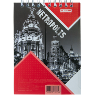 Блокнот на пружине Buromax Metropolis А6 48 листов клетка красный