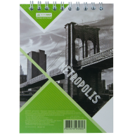 Блокнот на пружине Buromax Metropolis А6 48 листов клетка салатовый