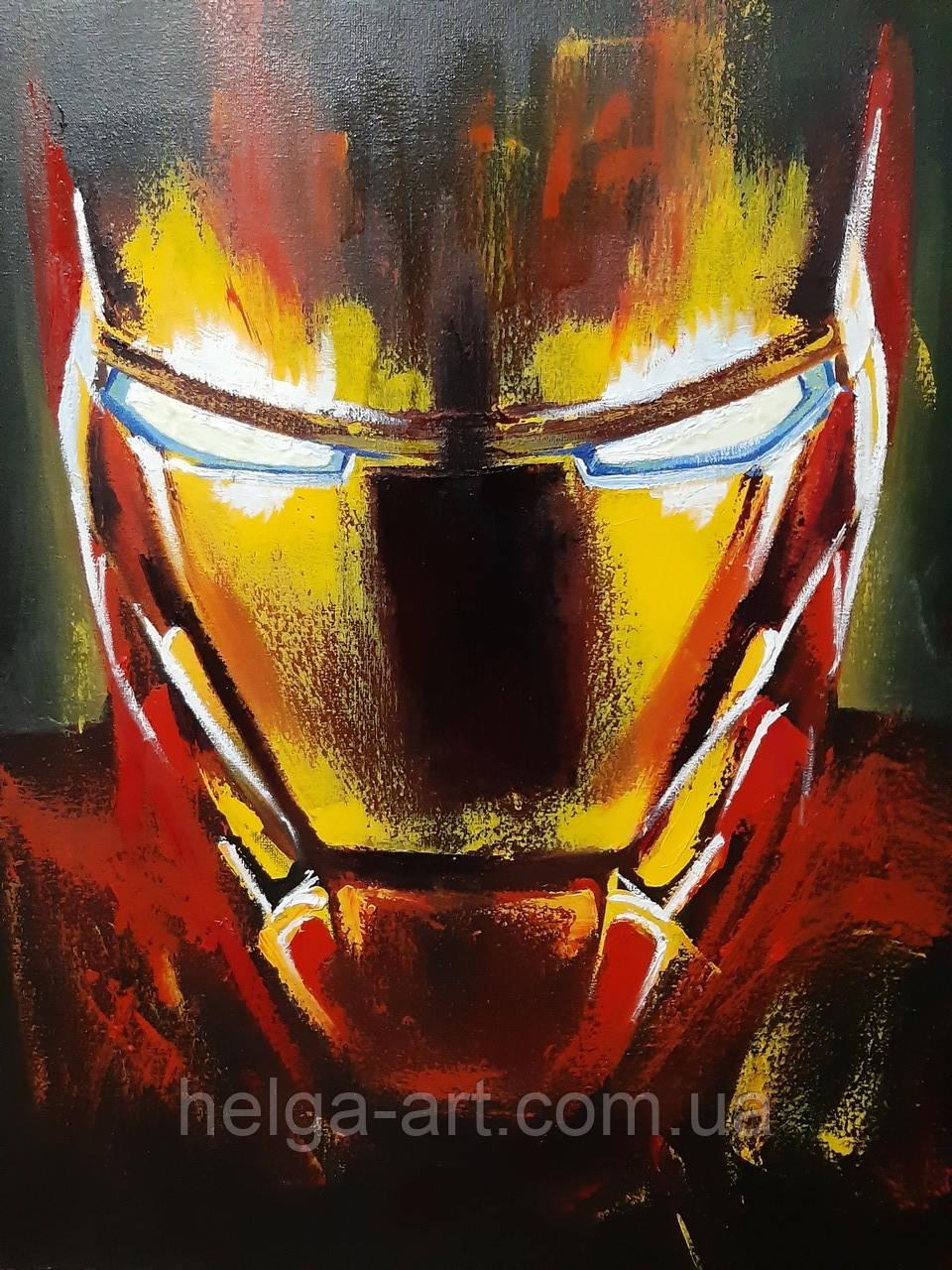 """""""Железный человек"""" Картина маслом с золотой поталью и флуорисцентной краской. Светится в темноте"""