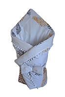 Конверт - одеяло на выписку DavLu Листья пальмы 90х90 см белый