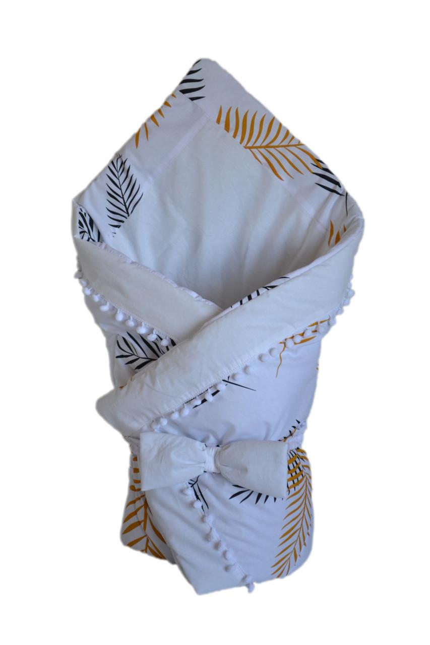 Конверт - одеяло на выписку DavLu Листья пальмы 90х90 см белый, фото 1