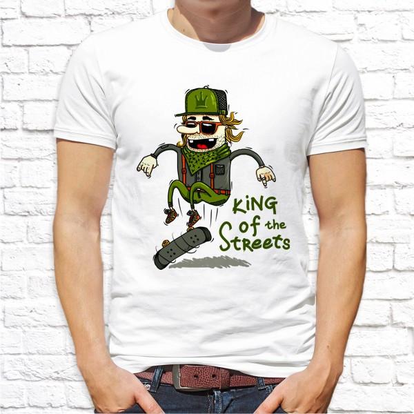 "Мужская футболка Push IT с принтом Скейтбордист ""King of the streets"""