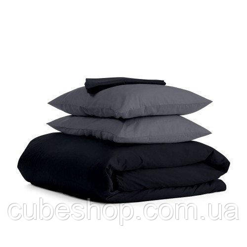 Комплект полуторного постельного белья BLACK GREY-P (хлопок, сатин)