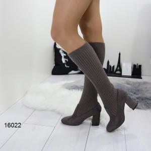 Демисезонные женские сапоги чулки серые замшевые на каблуке устойчивом