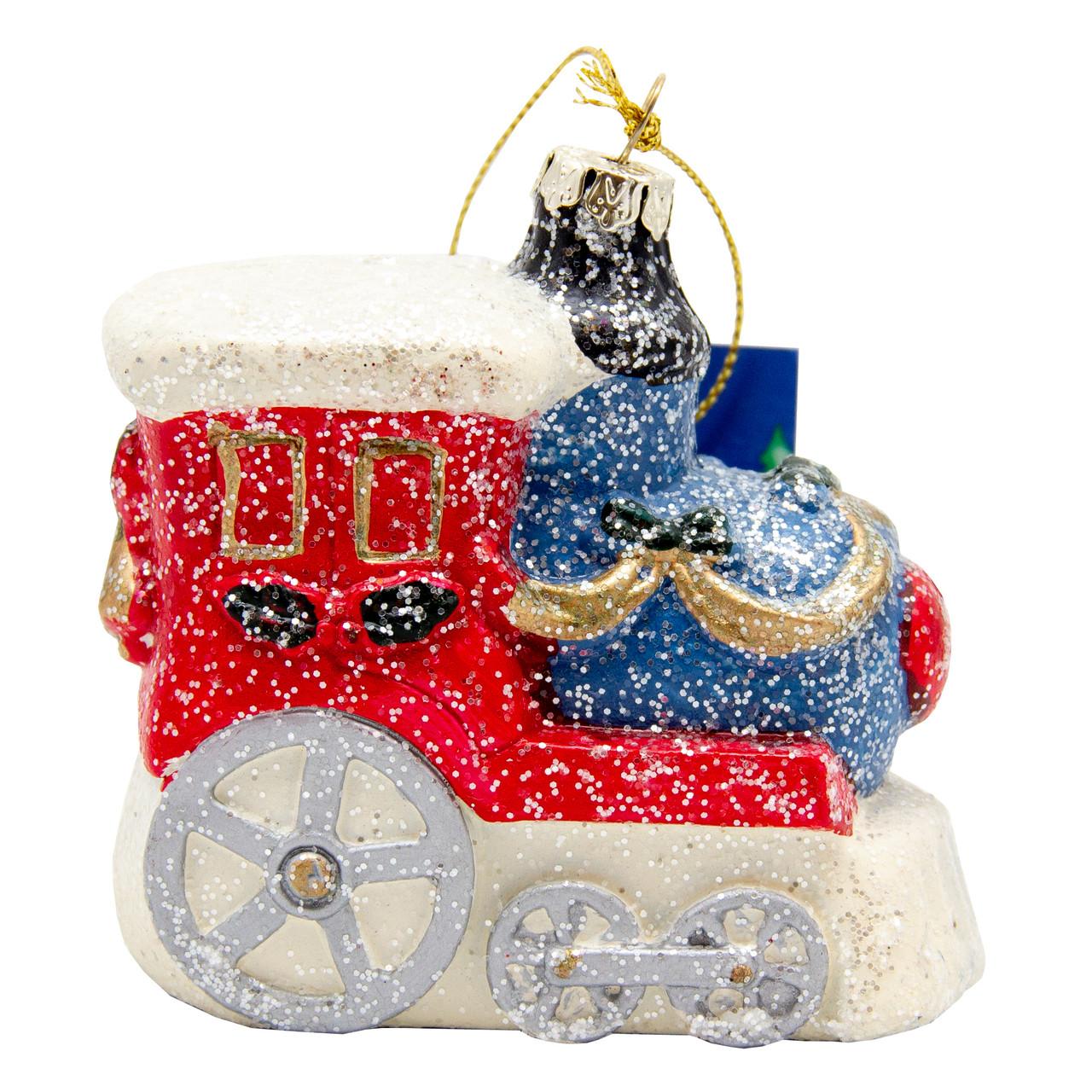Елочная игрушка Паровозик пластиковый 9 см. (190071)
