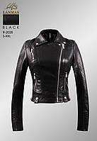 Куртка женская укороченная кож/зам размер нормачёрного цвета с карманами на молнии
