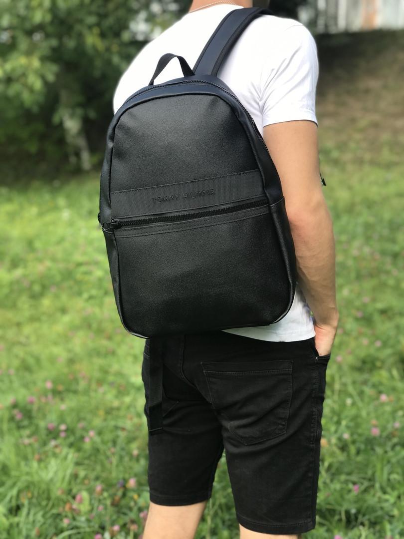 Кожаный школьный и спортивный рюкзак (черный)