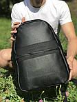 Кожаный школьный и спортивный рюкзак (черный), фото 3
