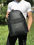 Кожаный школьный и спортивный рюкзак (черный), фото 4
