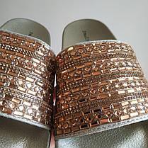 Золотые Тапки стразы шлепки бисер блестящие шлепанцы со стразами с камнями битое стекло, фото 2