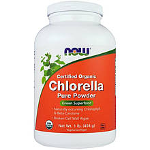 "Хлорелла NOW Foods ""Certified Organic Chlorella Pure Powder"" натуральная, в порошке (454 г)"
