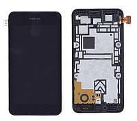 Матрица с тачскрином  для Nokia Lumia 530 черный с рамкой