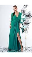 Шикарное вечернее длинное атласное платье seam