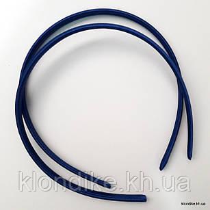 Обруч для волос, пластиковый обшитый тканью, 9 мм, Цвет: Синий