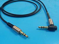 Аудио кабель AUX , штекер 3.5 jack стерео - штекер 3.5 jack стерео, черный  gold 1м