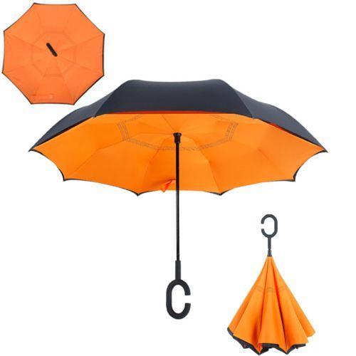 Зонт наоборот Up Brella однотонный Оранжевый