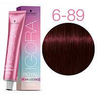 6-89 Краска для волос Schwarzkopf Professional Igora Royal Pearlescence - Темно русые красно фиолетовый - 60мл