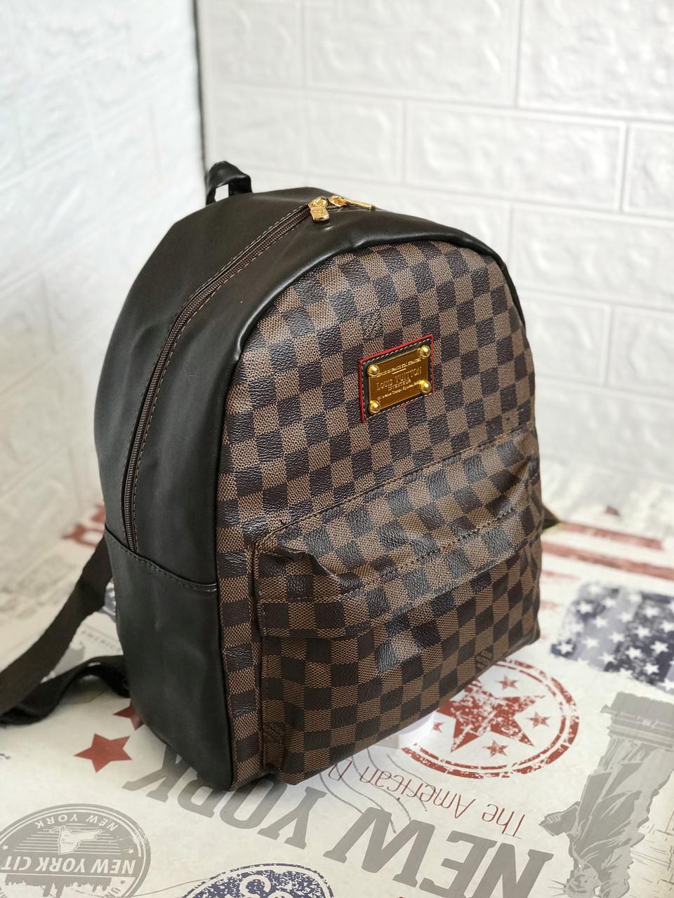 Рюкзак женский портфель в стиле LV Louis Vuitton ( Луи Витон) Monogram коричневый