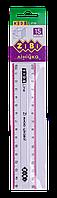 Линейка 15см пластиковая прозрачная с цветной полосой
