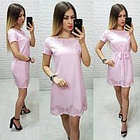 Платье летнее с выбитым рисунком, модель 109 пудра
