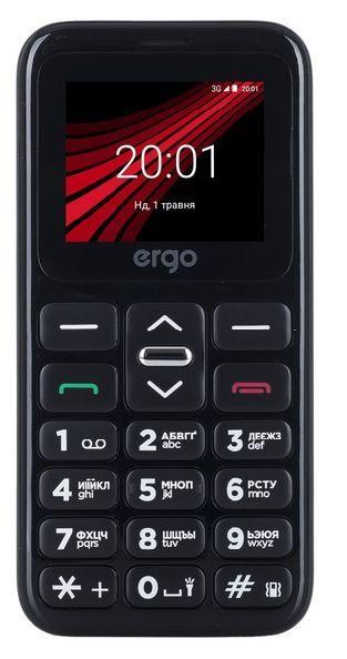 Телефон кнопочный мобильный на 2 сим карты для пожилых людей с фонариком Ergo F186 Solace черный