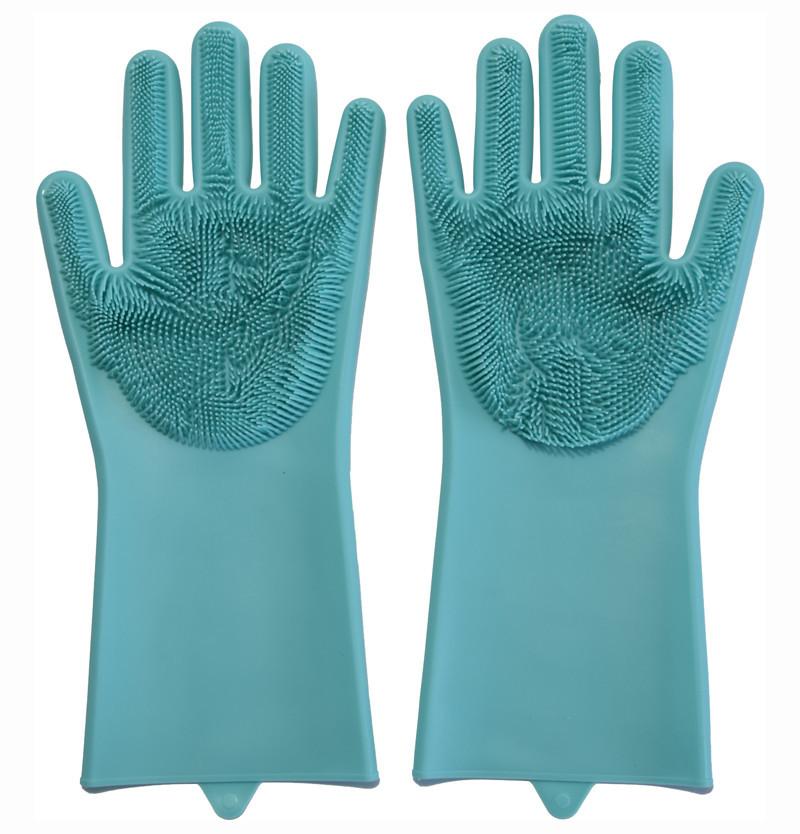 Перчатки силиконовые хозяйственные для мытья посуды и уборки Magic Silicone Gloves, Голубые