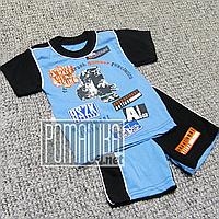 Детский летний костюм 80-86 7-12 мес комплект футболка и шорты на для мальчика мальчику на лето 2112 Синий