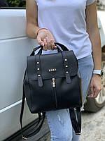 Черный женский рюкзак молодежный городской рюкзачок брендовый модный кожзам