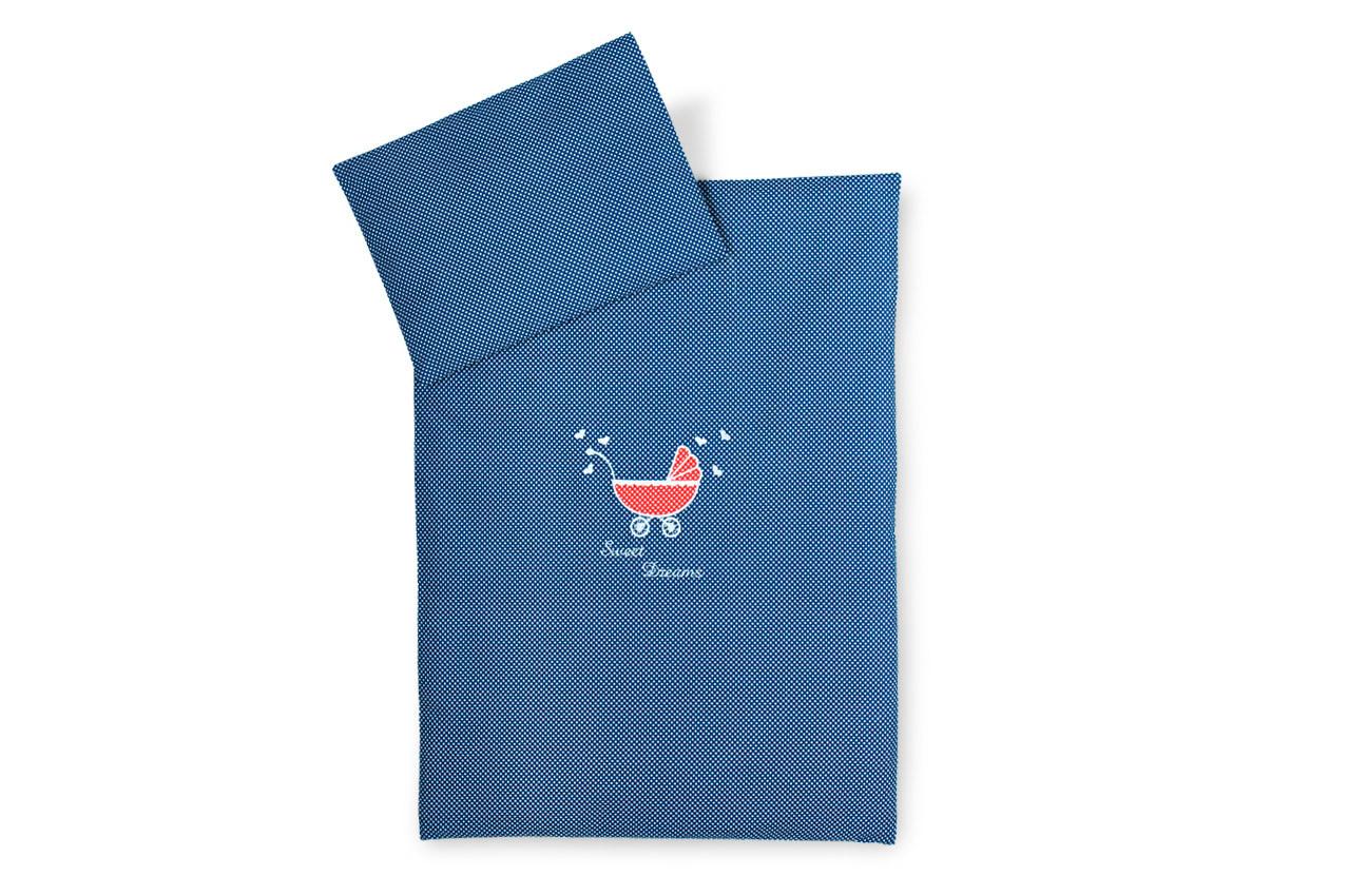 Постельное бельё в коляску Горошек (Синий)