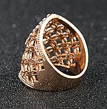 Позолоченное ажурное кольцо с цирконами код 1233, фото 2