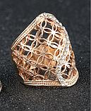 Позолоченное ажурное кольцо с цирконами код 1233, фото 3