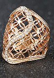 Позолоченное ажурное кольцо с цирконами код 1233, фото 4